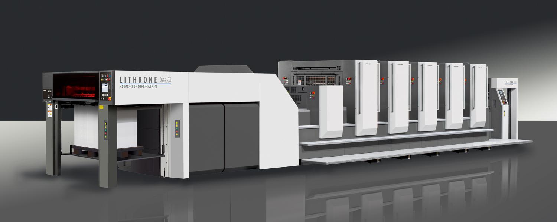 Herstellerbild der Offset-Druck Maschine Komori Lithrone G40 der Druckerei Rapp-Druck GmbH mit fünf Farbwerken und Dispersionslackwerk
