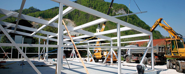 Aufnahme vom Bau der dritten Produktionshalle Firma Rapp-Druck GmbH im Jahre 2006