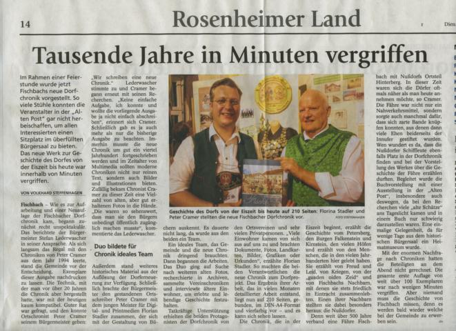 Florian Stadler Druckerei Rapp-Druck GmbH präsentiert die Fischbach Chronik