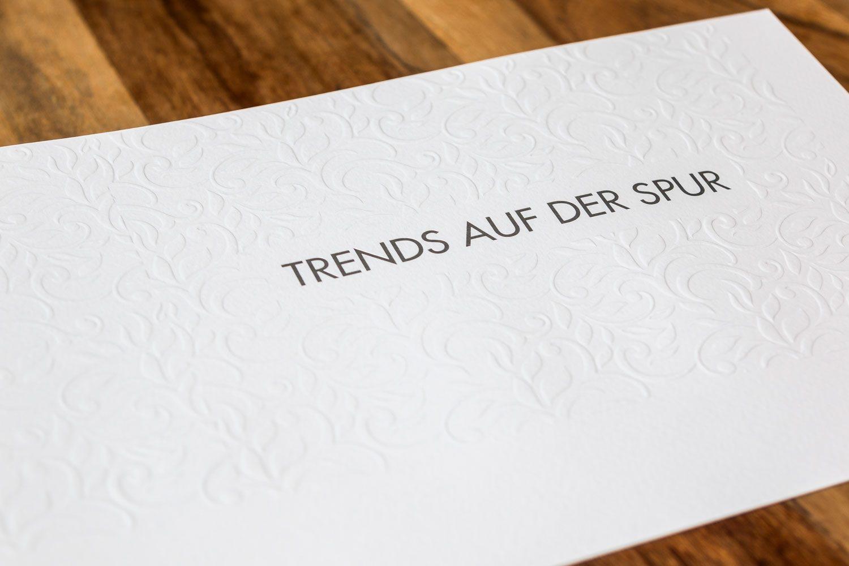 Druckerei Rapp-Druck Umschlag Blindpraegung Heißfolienpraegung silber