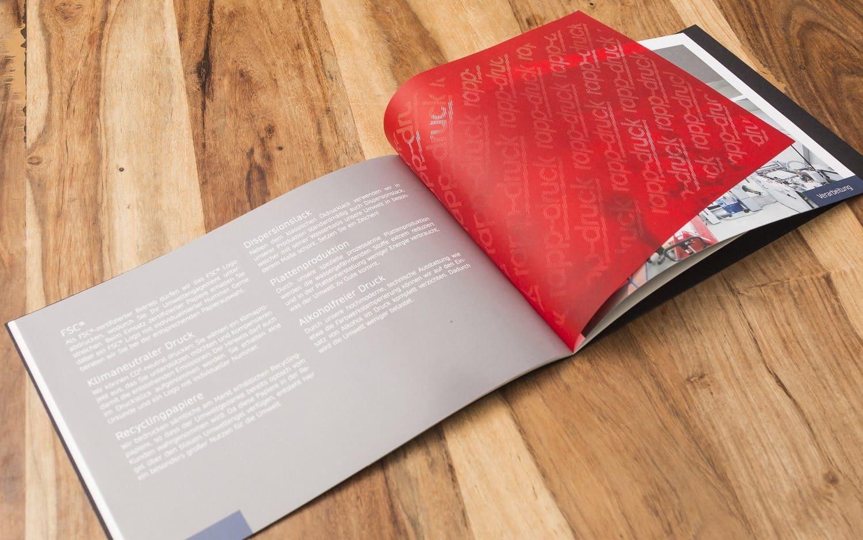 Imagebroschüre Druckerei Rapp-Druck Laserstanzung