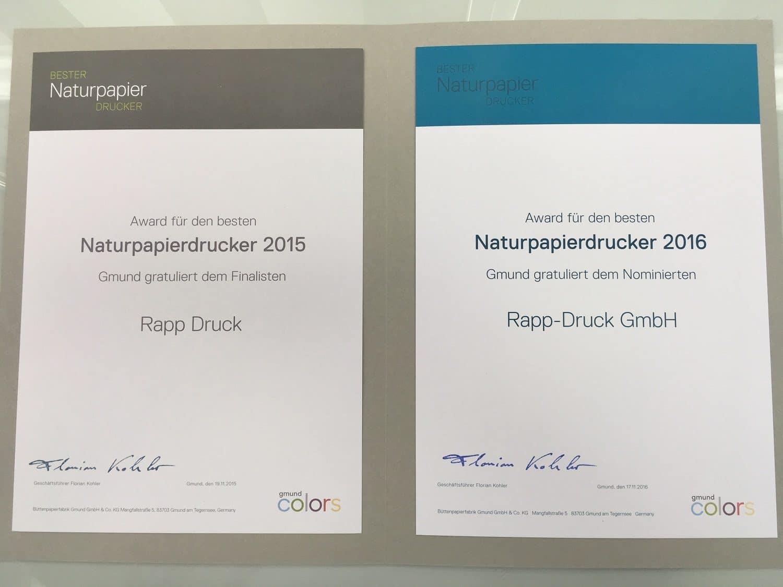 Urkunde Rapp-Druck Gmund Naturpapierdrucker Award Finalist