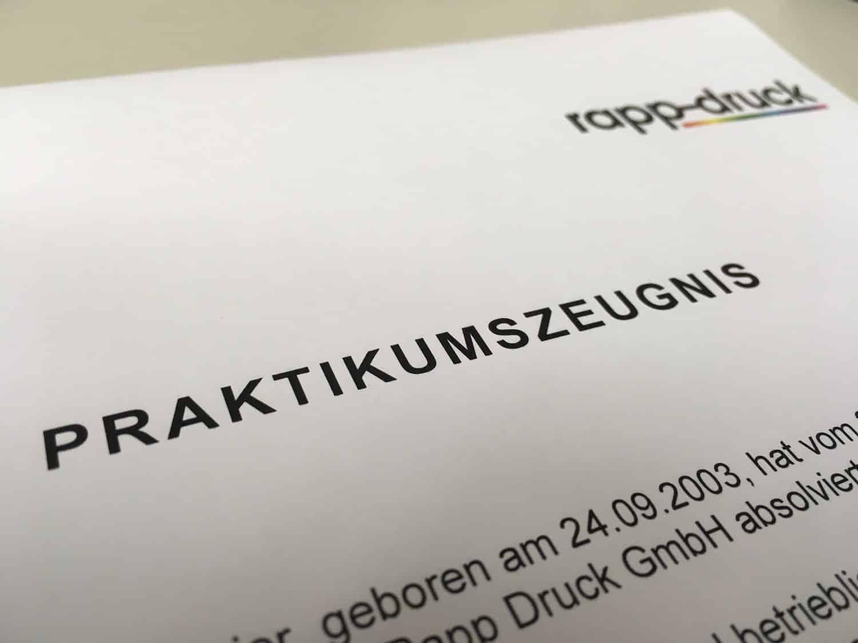 Bilanz 2016 über beschäftigte Praktikanten bei der Druckerei Rapp-Druck