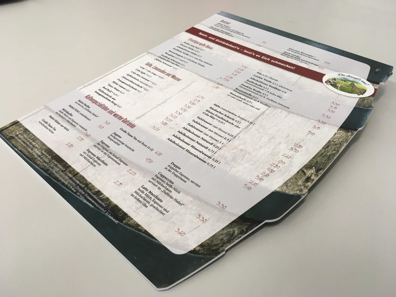Speisekarte auf PVC Hartschaum mit 3 mm Stärke konturgefräst der Druckerei-Rapp-Druck Hauptansicht