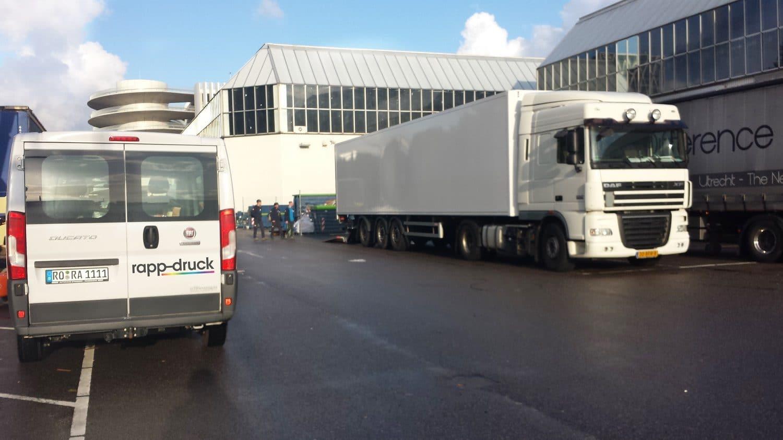 Direktlieferung der Druckerei Rapp-Druck GmbH zur Messe Amsterdam
