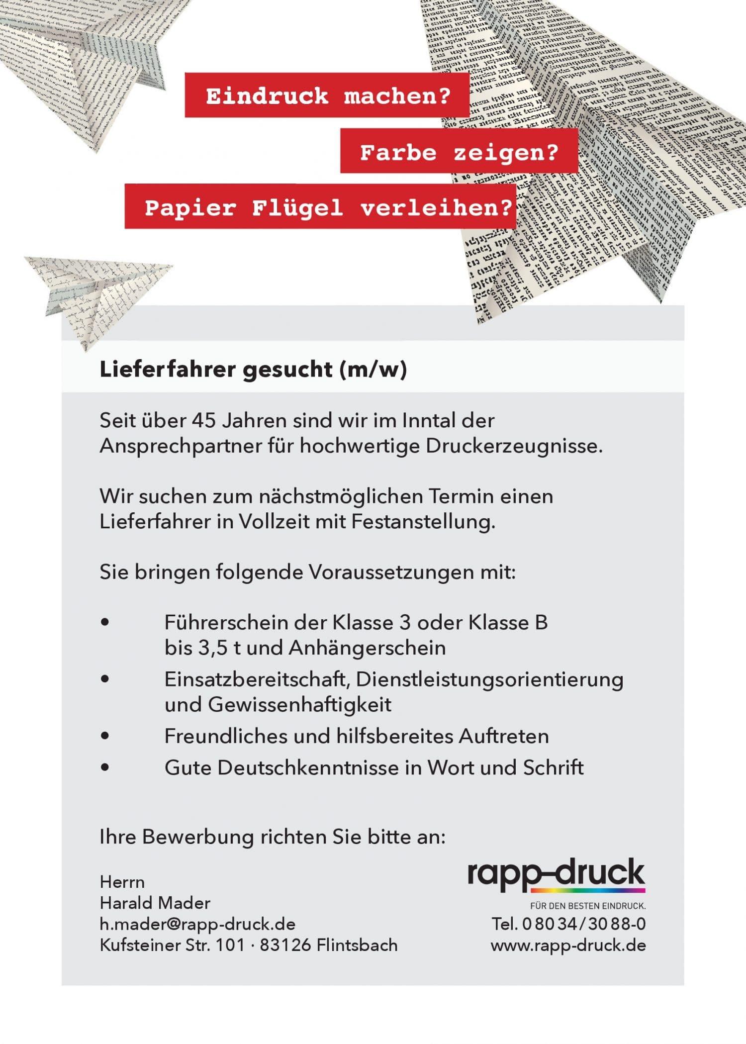 Stellengesuch der Druckerei rapp-Druck GmbH für einen Lieferfahrer