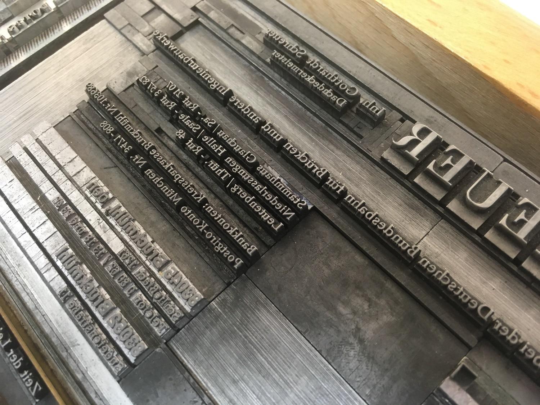 Detailaufnahme einer Druckform mit klassischem Bleisatz der Druckerei Rapp-Druck GmbH