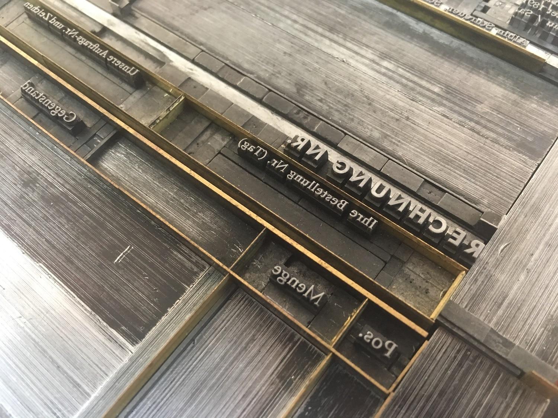 Weitere Detailaufnahme einer Druckform mit klassischem Bleisatz der Druckerei Rapp-Druck GmbH